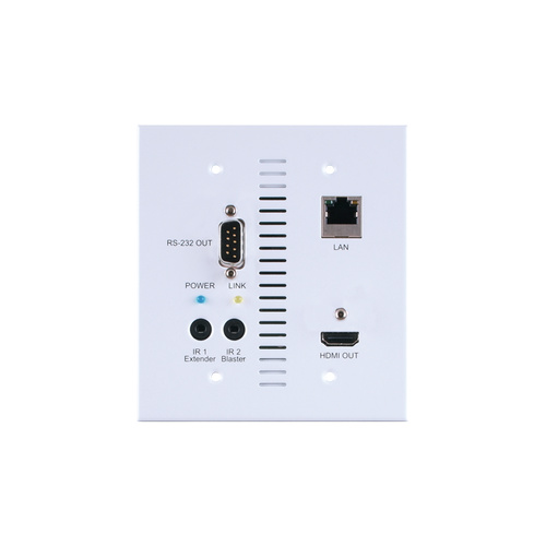 CH-507RXWPUS - 4K60 (4:2:0) HDMI over HDBaseT Wallplate Receiver with IR, RS-232, PoC (PD) & LAN (2 Gang US)